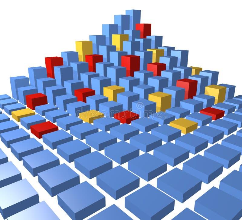den abstrakt blockstaden skära i tärningar datapyramiden vektor illustrationer
