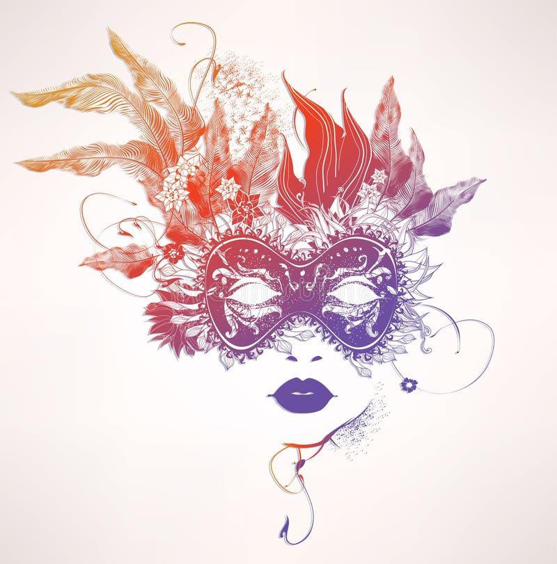 den abstrakt framsidan blommar kvinnan vektor illustrationer
