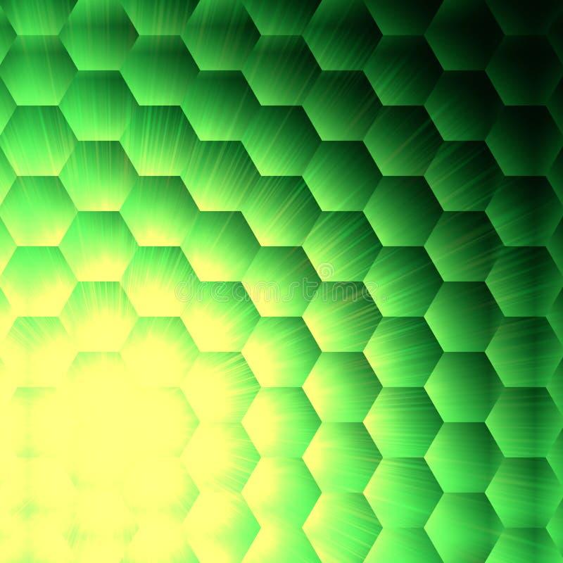 Den abstrakt gulingen tänder i grön sexhörningsbakgrund vektor illustrationer