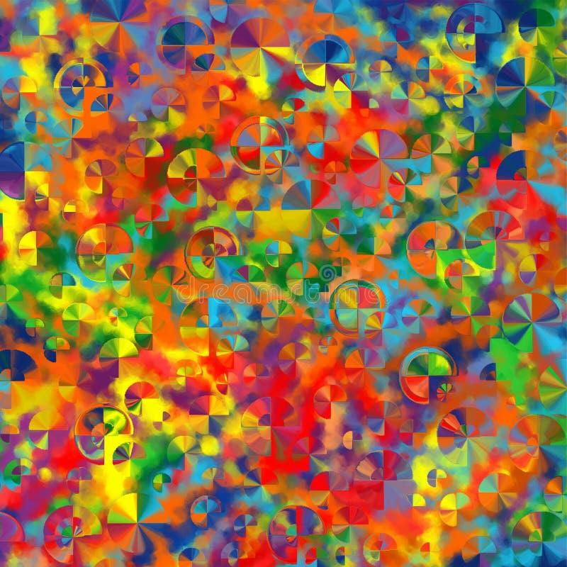 Den abstrakt konstregnbågen cirklar färgrikt mönstrar bakgrund royaltyfri illustrationer