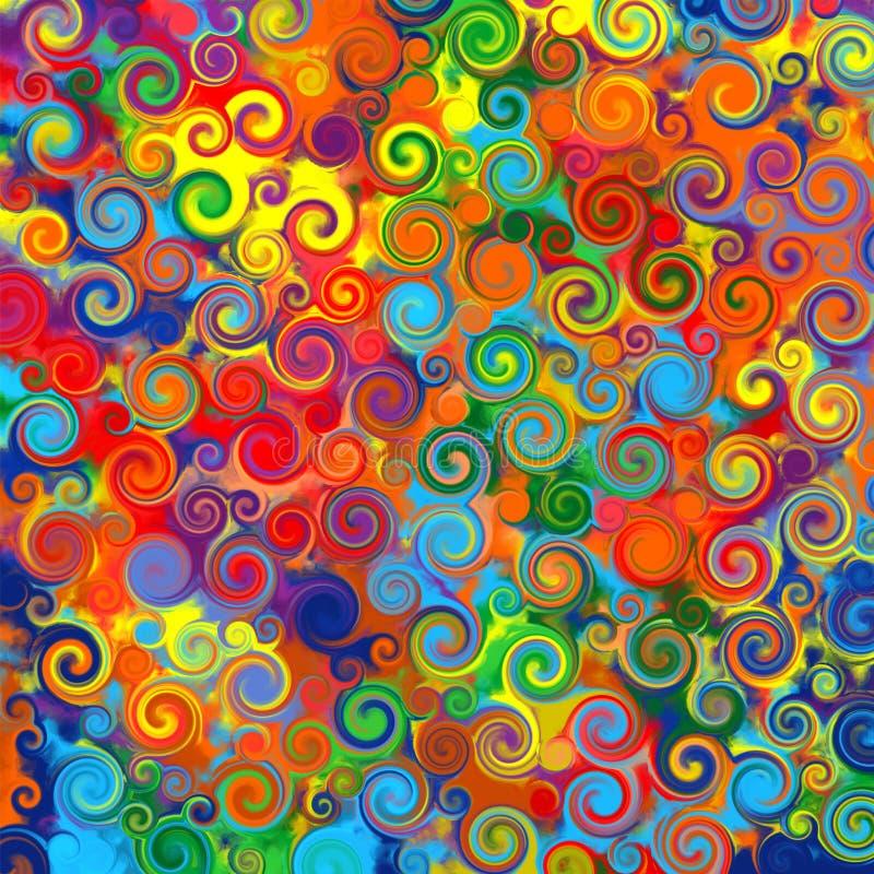 Den abstrakt konstregnbågen cirklar virvlar runt färgrikt mönstrar musikgrungebakgrund royaltyfri illustrationer