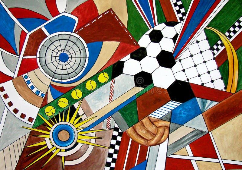 Den abstrakt målningen av sporten skrivar fotboll, tennis. vektor illustrationer