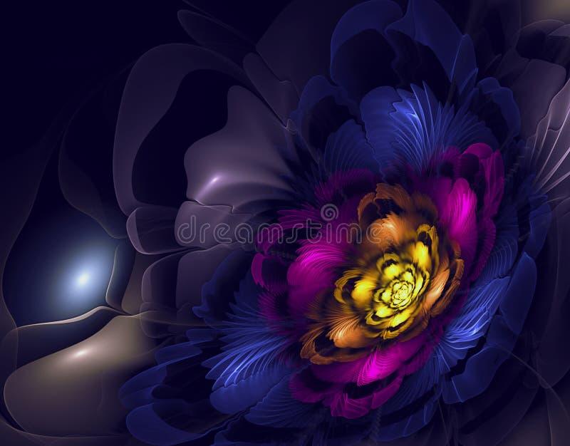 den abstrakt mitten spol bild för färgfractaltoner som den starka huvudregnbågen piskar vektor illustrationer