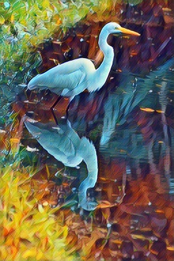 Den abstrakta ägretthägerplatsen visar den härliga reflexionen av ett lugnt vattendamm, medan vår ägretthäger jagar dess rov vektor illustrationer