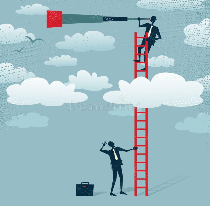 Den abstrakta affärsmannen får en bättre sikt. stock illustrationer