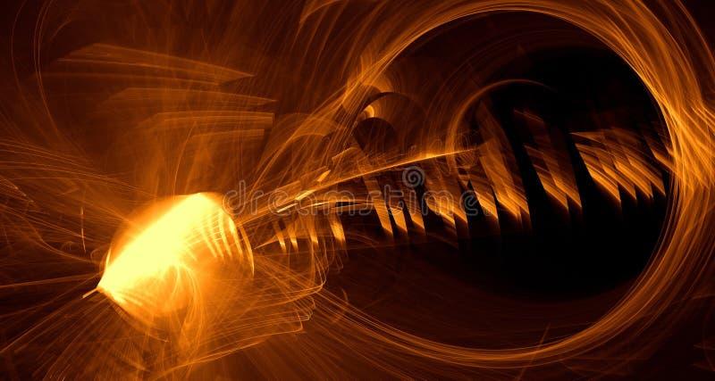 Den abstrakta apelsinen, guling, guld- ljus glöder, strålar, former på mörk bakgrund stock illustrationer