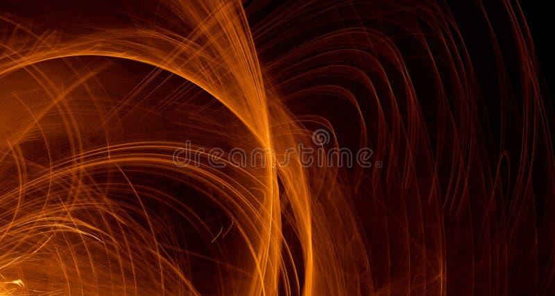 Den abstrakta apelsinen, guling, guld- ljus glöder, strålar, former på mörk bakgrund vektor illustrationer