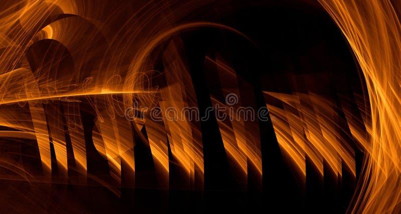 Den abstrakta apelsinen, guling, guld- ljus glöder, strålar, former på mörk bakgrund royaltyfri illustrationer