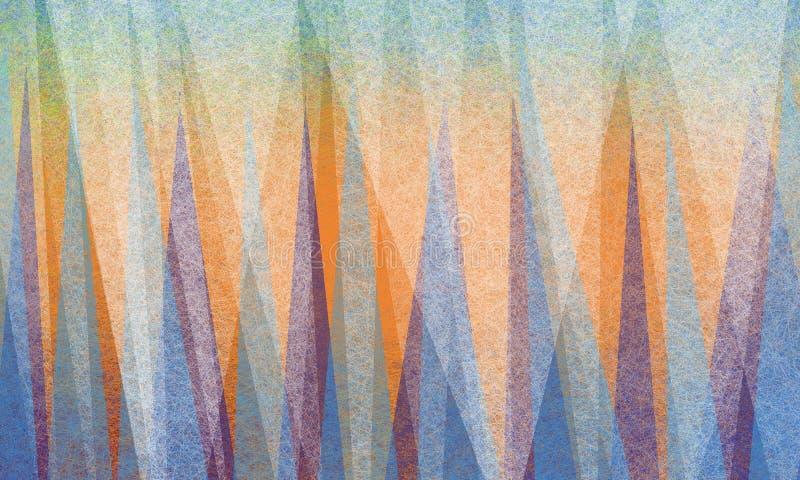 Den abstrakta bakgrundsdesignen med triangeln formar i vit pergamenttextur på ljusa färgrika skärvor av blå gräsplan och lilor på vektor illustrationer