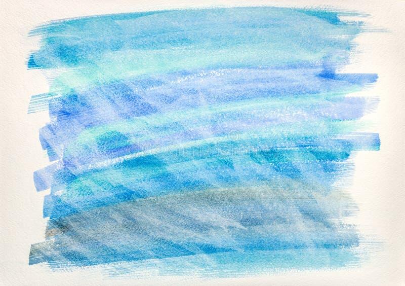 Den abstrakta bl?a vattenf?rghanden m?lade bakgrund p? vitbok arkivfoto