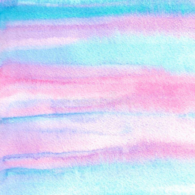Den abstrakta blåa, violetta och rosa vattenfärghanden målade bakgrund royaltyfri illustrationer