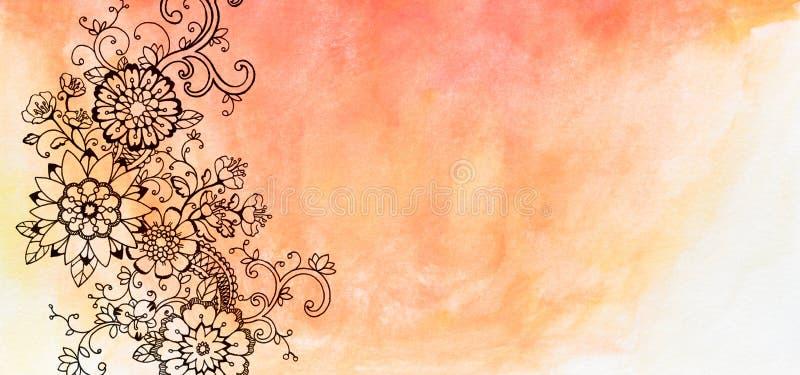 Den abstrakta blommaklottergränsen med utsmyckad utsmyckad krullning och sidor på orange rosa vattenfärg skyler över brister stock illustrationer