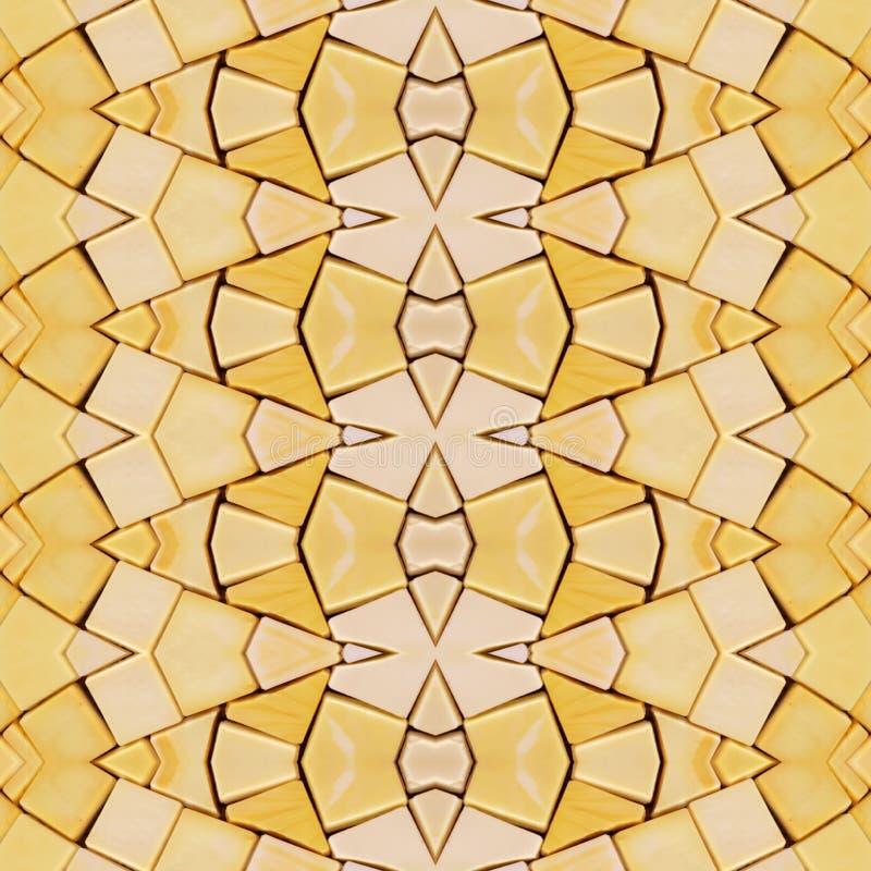den abstrakta collagedesignen från en bild av marmorerar stycken i gula färger, bakgrund och textur royaltyfri illustrationer