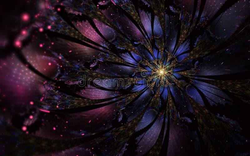 Den abstrakta datoren frambragte fractalblommadesign Digital konstverk f?r minnestavlabakgrund, skrivbords- tapet eller f?r id?ri royaltyfri illustrationer