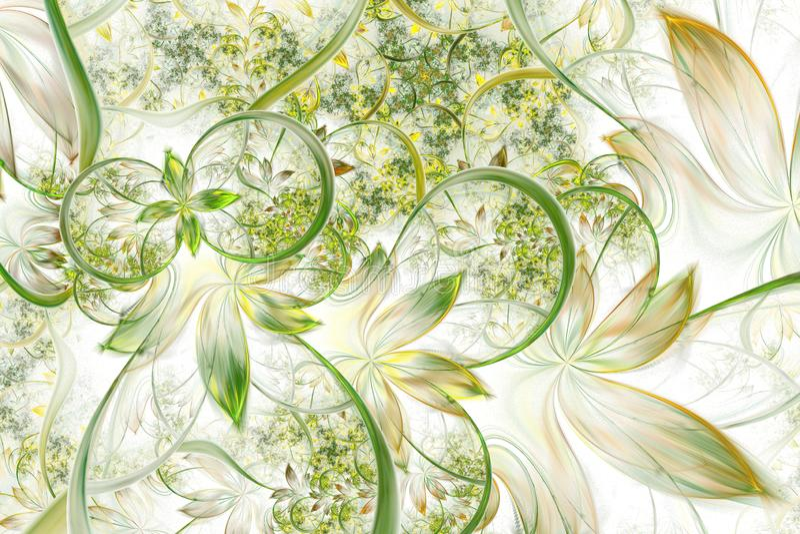 Den abstrakta datoren frambragte växtfractaldesign Digital konstverk för minnestavlabakgrund, skrivbords- tapet eller för idérik  royaltyfri illustrationer