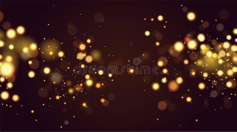 Den abstrakta defocused runda guld- bokehgnistrandet blänker ljusbakgrund magisk bakgrundsjul Elegant skinande arkivbild