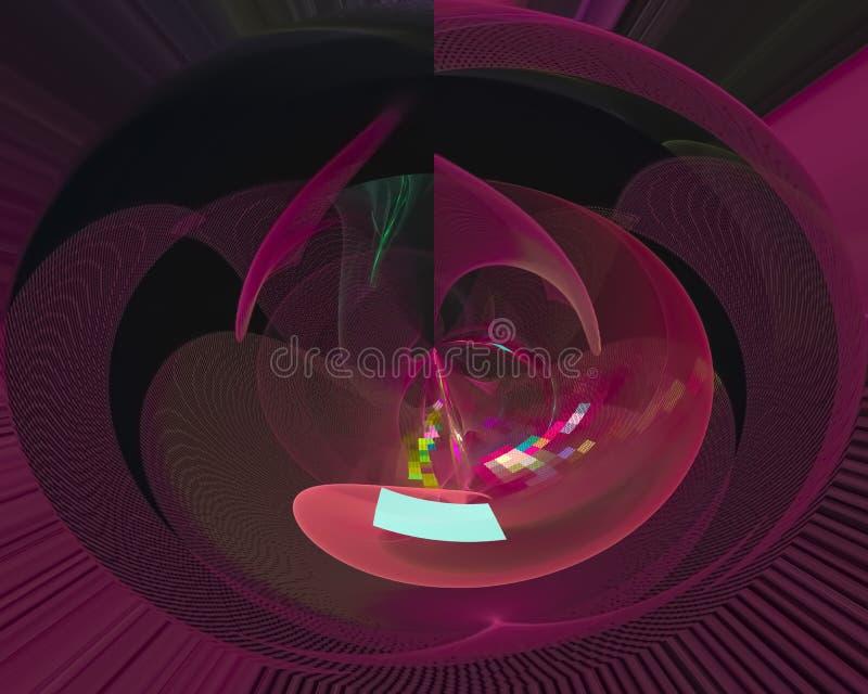 Den abstrakta digitala fractalen, kort för våg för mjuk färg för beståndsdel skinande framför fantasidesignvågen, framför, vinkar stock illustrationer