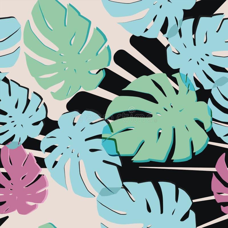 Den abstrakta färgmonsteraen lämnar svart vit bakgrund vektor illustrationer