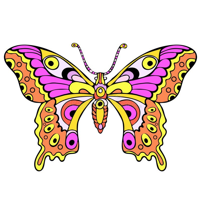 Den abstrakta färgrika fjärilen, tecknad filmhandteckningen, textiltrycket, tatuering skissar, vektorillustrationen vektor illustrationer