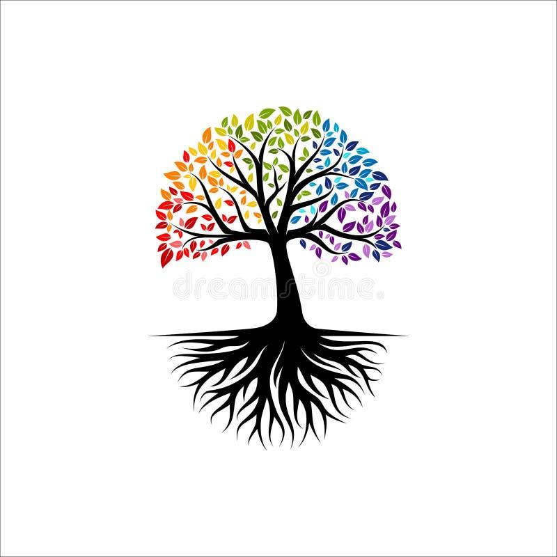 Den abstrakta färgrika trädlogodesignen, rotar vektorn - träd av inspiration för livlogodesignen royaltyfri illustrationer