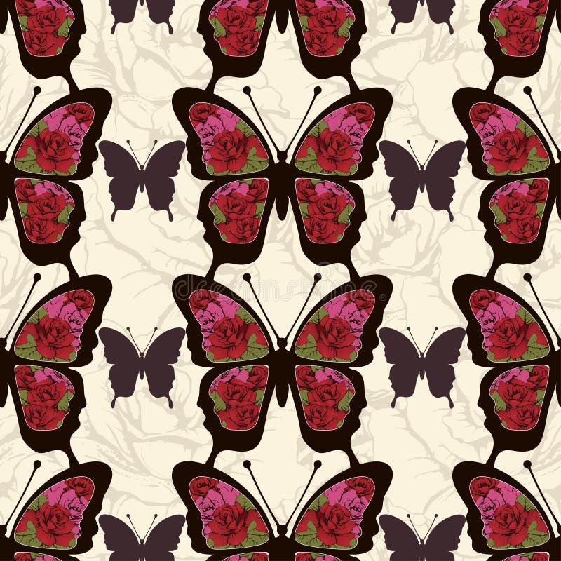 Den abstrakta fjärilen med prydnader av rosor blommar den sömlösa modellen Bakgrund i stilbohoen, hippie, bohem vektor illustrationer