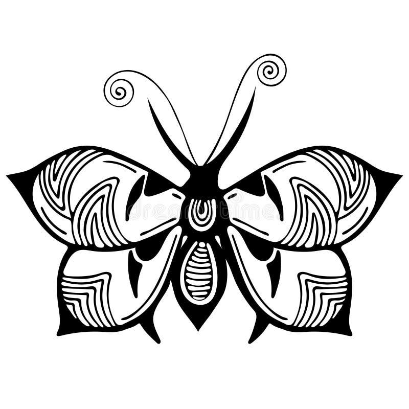 Den abstrakta fjärilen, den svartvita teckningen, översiktsprydnaden, textiltrycket, färgläggning, tatuering skissar, vektorillus stock illustrationer