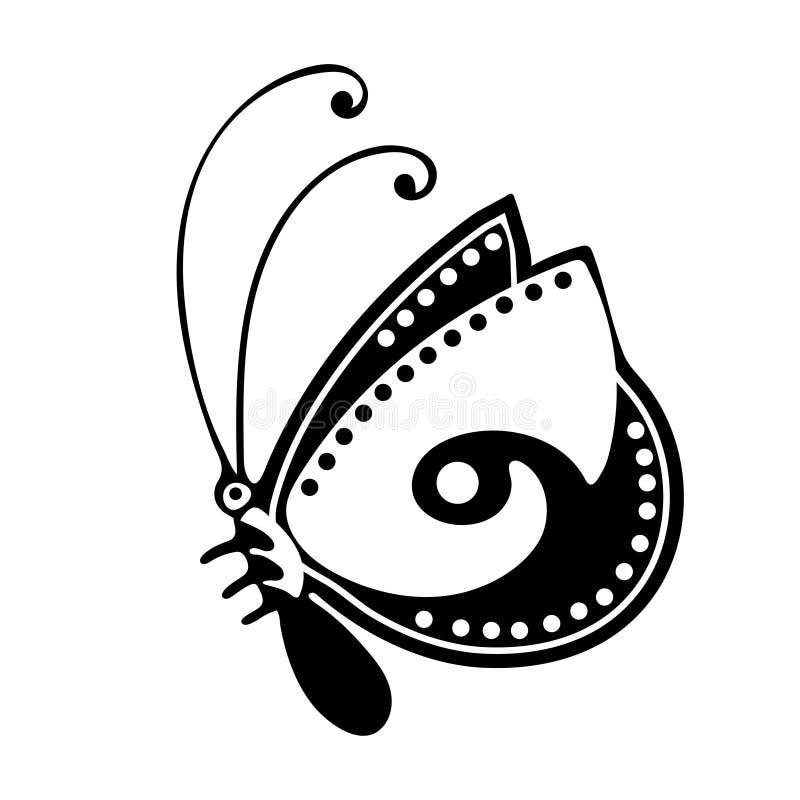 Den abstrakta fjärilen, den svartvita teckningen, den linjära översiktsprydnaden, textiltrycket, färgläggning, tatuering skissar, stock illustrationer