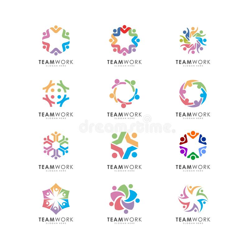 Den abstrakta folkvektordesignen föreställer teamwork, tecken och symboler vektor illustrationer
