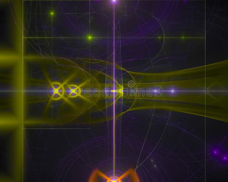 Den abstrakta fractalen, futuristisk flödesfantasi framför för fantasielegans för virveln den vibrerande magiska prydnaden för fa stock illustrationer