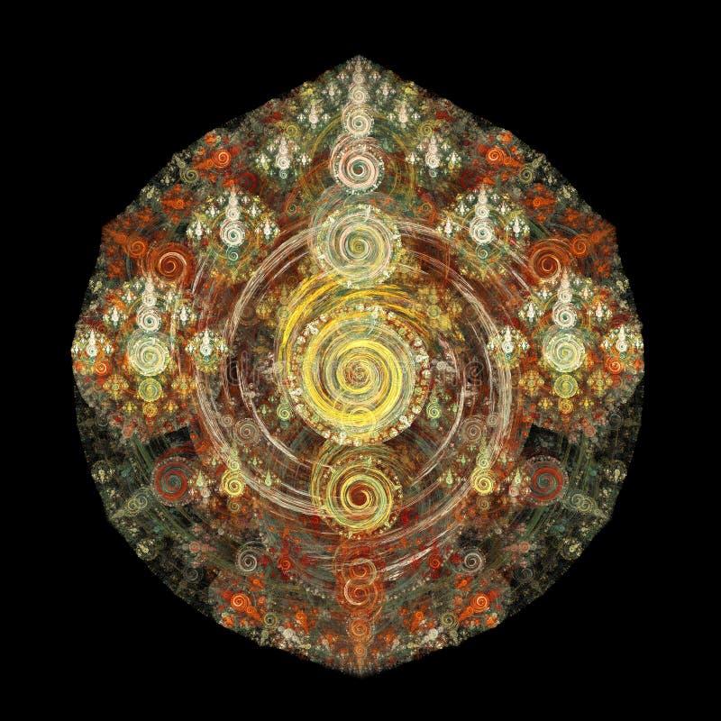Den abstrakta fractalen krullar på svart bakgrund royaltyfri illustrationer