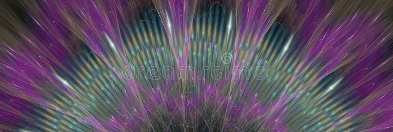 Den abstrakta fractalfantasin fodrar som strålar av den overkliga solen Banerlodisar vektor illustrationer