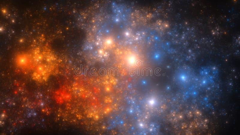 Den abstrakta fractalillustrationen ser som galaxer vektor illustrationer