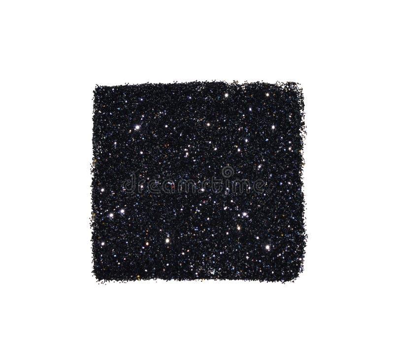 Den abstrakta fyrkanten av svart blänker gnistrandet på vit bakgrund för din design royaltyfria foton
