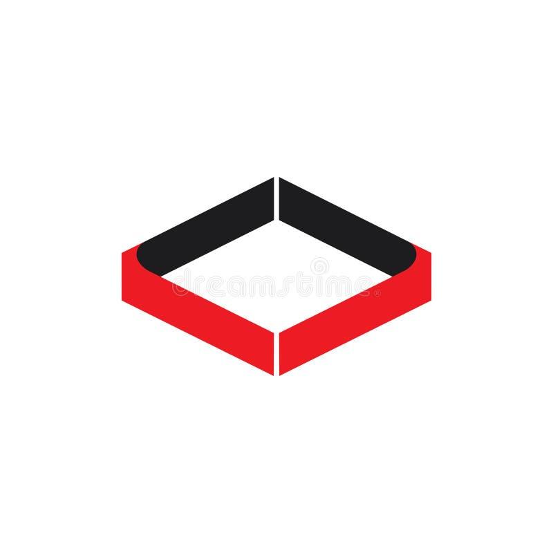 Den abstrakta fyrkanten buktar den enkla vektorn f?r logoen 3d stock illustrationer