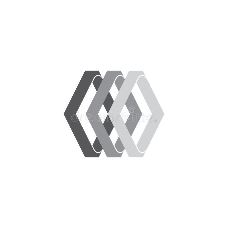 Den abstrakta fyrkanten buktar logovektorn för lutningen 3d stock illustrationer