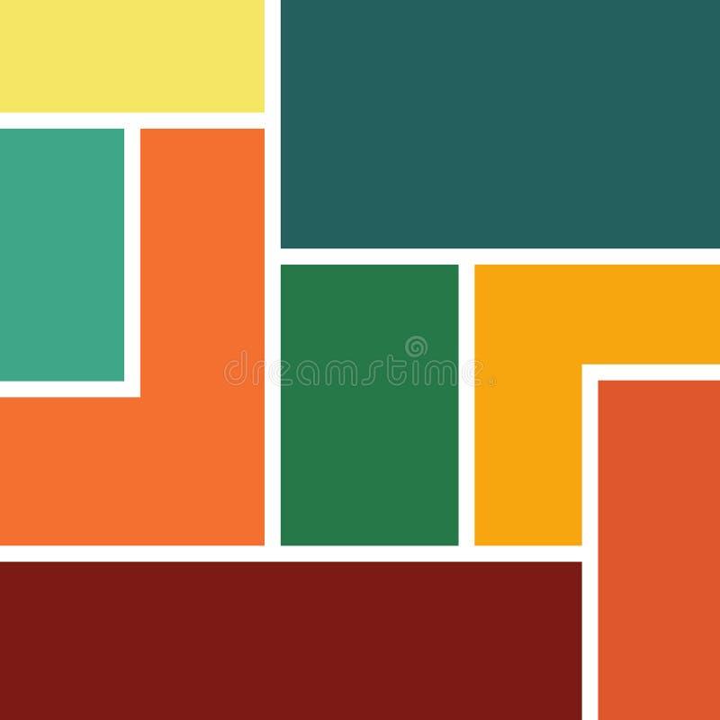 Den abstrakta geometriska bakgrundsvektordesignen bildade vid färgrika rektanglar och rektangulära former med vita linjer dem eme stock illustrationer