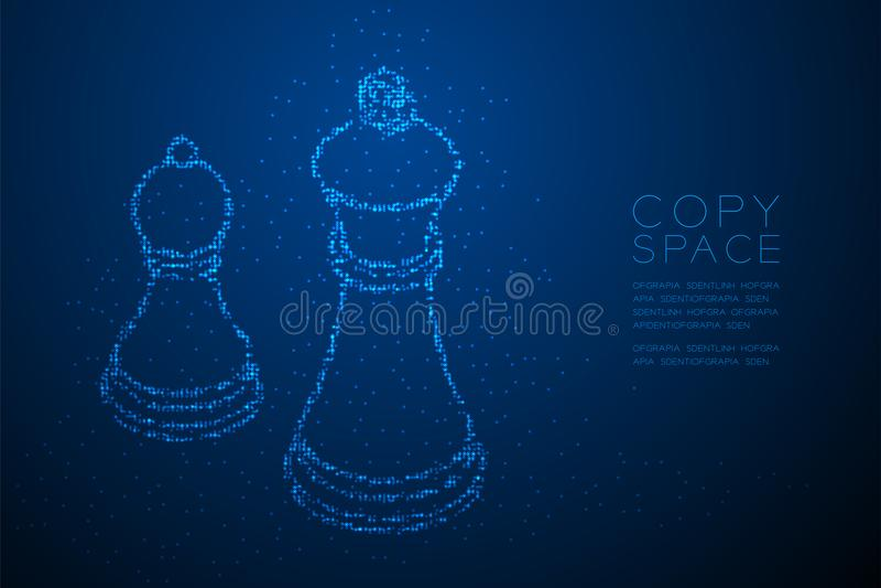 Den abstrakta geometriska drottningen för schack för modellen för PIXELet för den Bokeh cirkelpricken och pantsätter form, illust stock illustrationer
