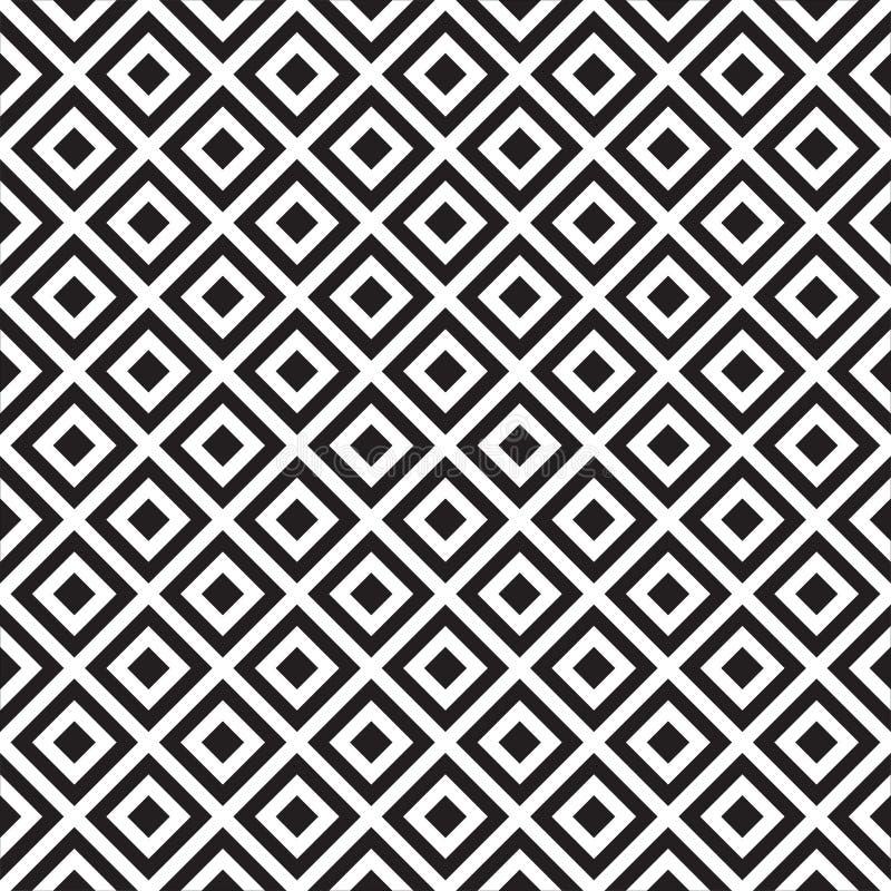 Den abstrakta geometriska modellen med band, linjer, kvadrerar Sömlös vektorackground Svartvit gallertextur Bakgrund geo stock illustrationer