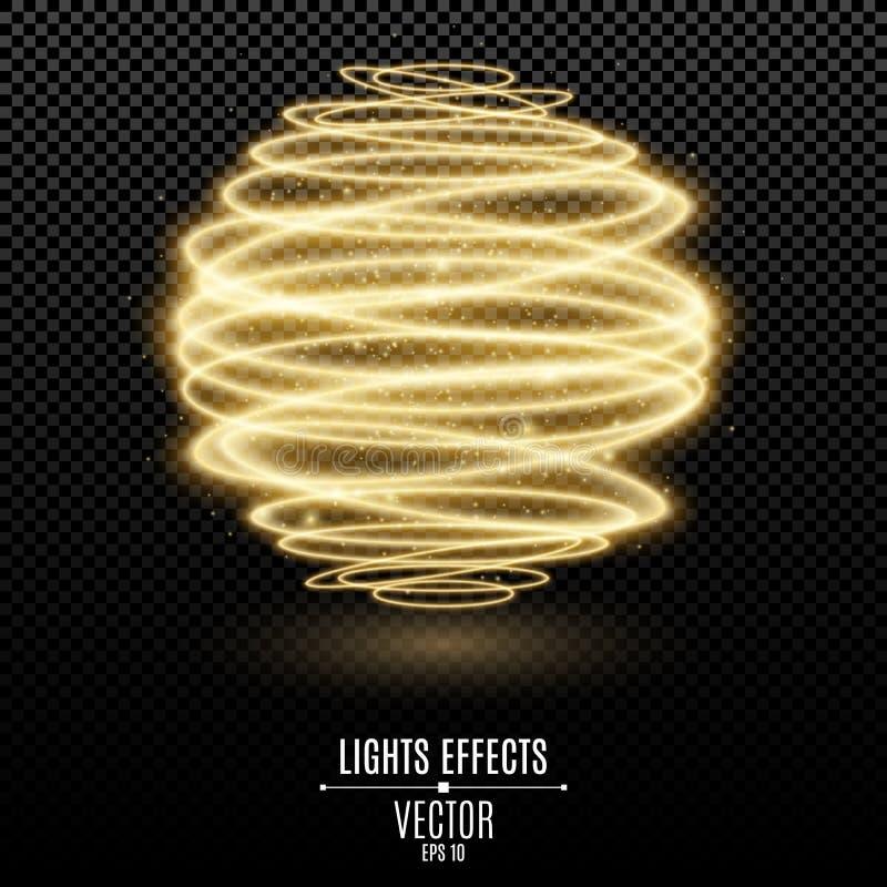 Den abstrakta glödande sfären 3d från guld- neon fodrar på en genomskinlig bakgrund Flyga ljus effekt för lysande magiskt damm ly stock illustrationer