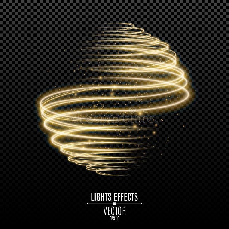 Den abstrakta glödande sfären från guld- neon fodrar på en genomskinlig bakgrund Flyga ljus effekt för lysande magiskt damm Grafi stock illustrationer