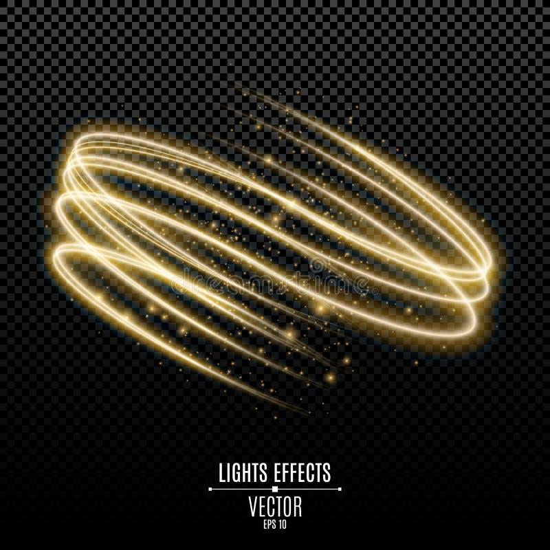Den abstrakta glödande sfären från guld- neon fodrar på en genomskinlig bakgrund Flyga ljus effekt för lysande magiskt damm Grafi royaltyfri illustrationer