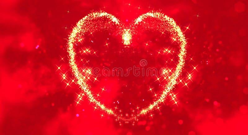 Den abstrakta gnistrandet blänker partiklar som hjärtor formar på röd suddighetsbokehbakgrund, händelse för ferie för valentindag stock illustrationer