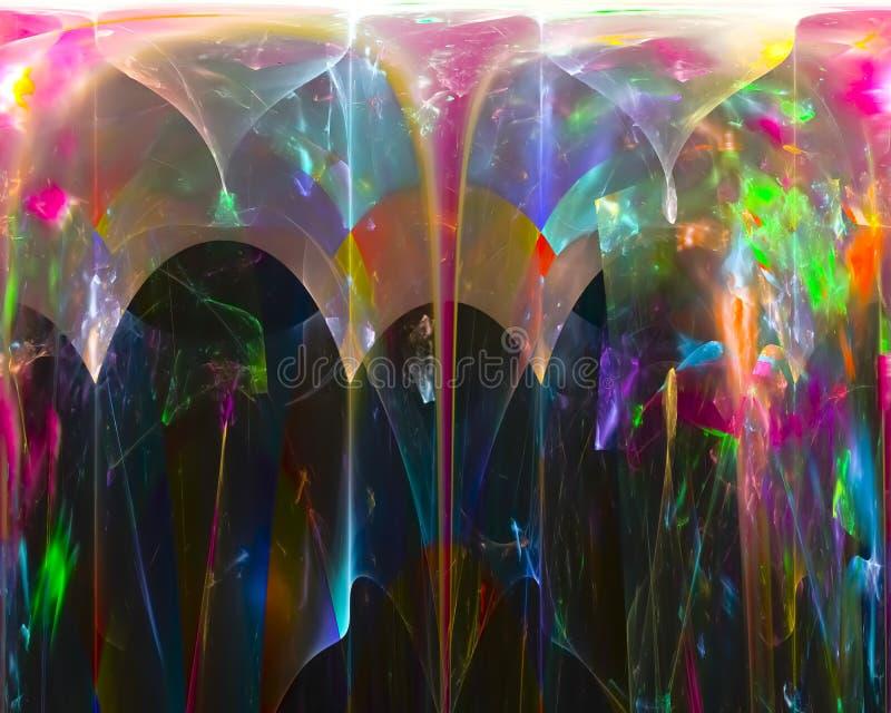 Den abstrakta grafiska fractalen, smyckar dekorativ flammarörelse, framtida den skinande fantasidesignen för stil, flamman, flöde stock illustrationer