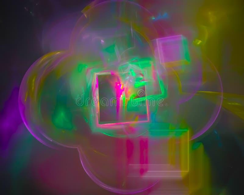 Den abstrakta grafiska fractalen, smyckar dekorativ rörelse, framtida den skinande fantasidesignen för stil, flamman, flöde vektor illustrationer