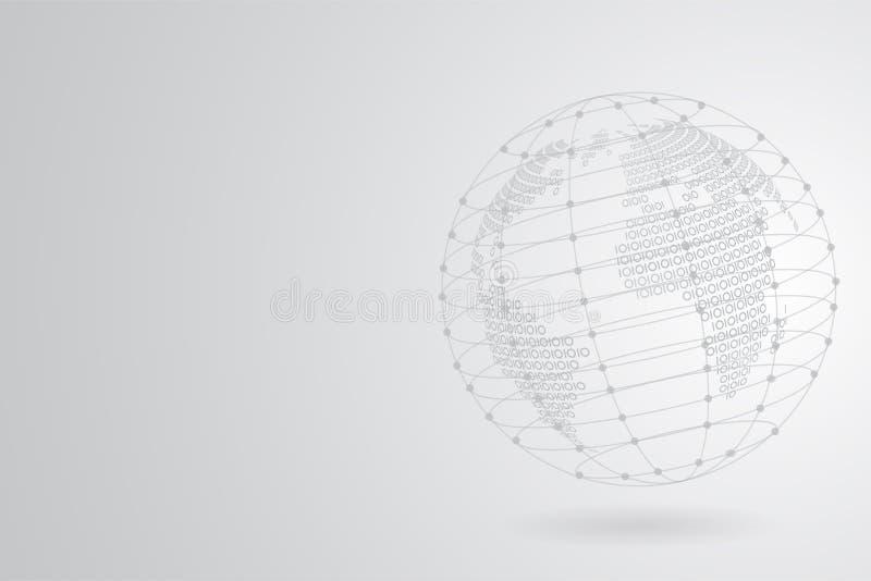Den abstrakta Grey Binary världskartan med Polygonal utrymmebakgrund med att förbinda pricker och fodrar stock illustrationer