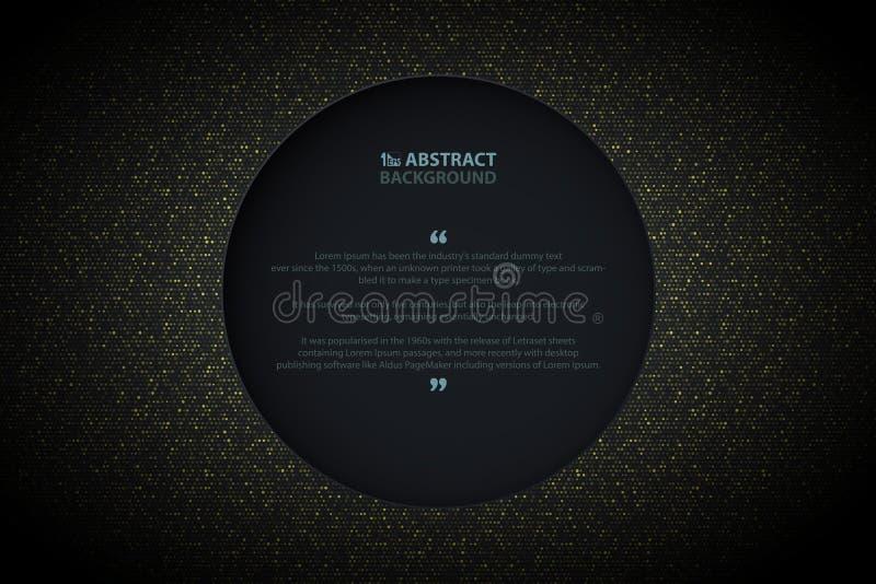 Den abstrakta guld- cirkeln blänker modelldesign med mörk bakgrund för cirkeln Dekorera i pappers- klippt presentation, annons, a vektor illustrationer