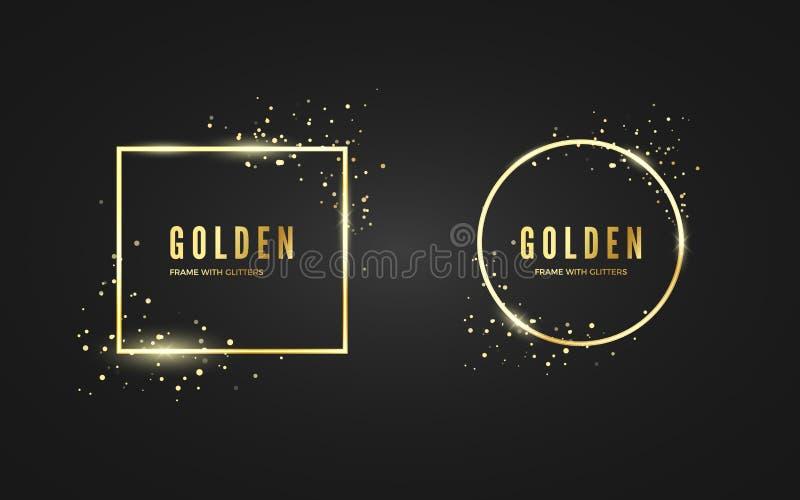Den abstrakta guld- ramen med blänker och sparcleeffekt för baner och affisch Guld- ramar för form för fyrkantans-cirkel stock illustrationer