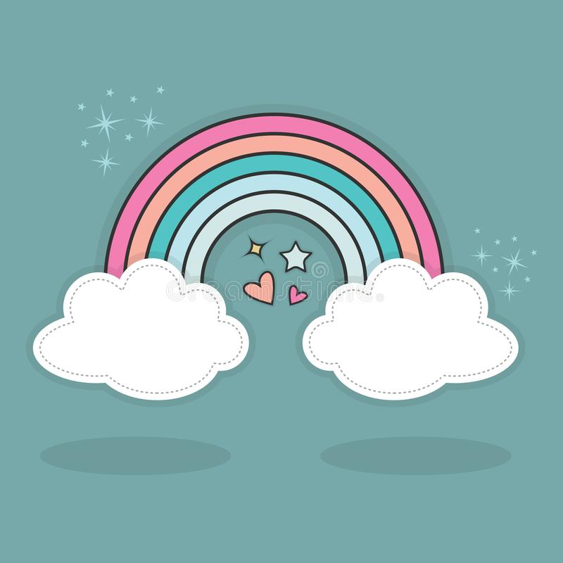 Den abstrakta gulliga regnbågen och moln med hjärtor och stjärnor mousserar i himlen royaltyfri illustrationer
