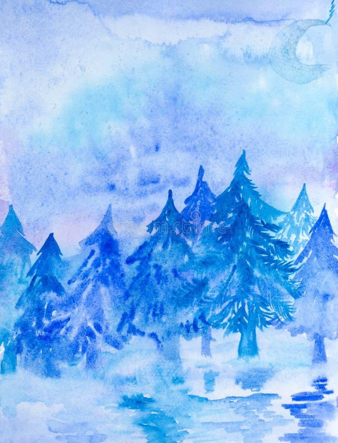 Den abstrakta handen målade vattenfärglandskap med vinternaturen Hand dragen bild på papper Ljus konstnärlig målning vektor illustrationer