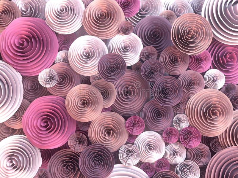 Den abstrakta illustrationen av papper-tillverkade quilling blommor med olika skuggor av våren färgar framförande 3d royaltyfri illustrationer